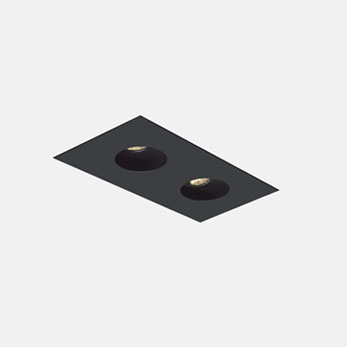 1x2 Trimmed Flanged Round Black